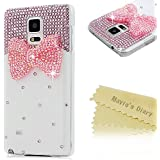 Mavis's Diary® Funda Samsung Galaxy Note 4 (Arco rosa) - 3D Bling Diamantes Funda Duro Protección Transparente PC Case Cover Cáscara