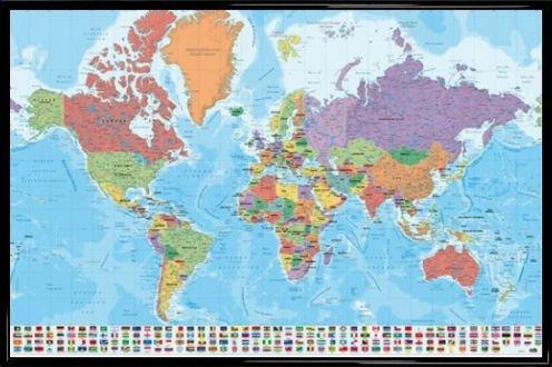 1art1® Mapamundis Póster Marco Plástico - Mapa