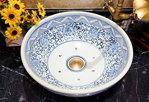 Ayhuir Blaue und weiße chinesische antike Keramik Waschbecken China Waschbecken Keramik Aufsatzwaschbecken Waschbecken Schrank Waschbecken - Runde Set, China Schrank