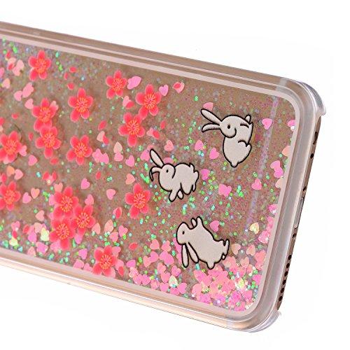 Beiuns Coque en Plastique Circuler liquide pour Apple iPhone4 4G 4S Housse Case - WM542 bonhomme de neige WM541 Lapins + fleurs rouges