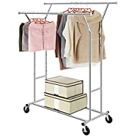 LANGRIA Heavy Duty Adjustable Clothing Rail Garment Clothes Rack Collapsible 4.2 - 6.2ft Long x 5.4 - 5.9ft High, Chrome (Double Rail)
