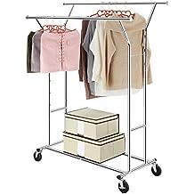 Zusammenklappbar verchromt LANGRIA Kleiderst/änder Stabiler Garderobenst/änder 1 Kleiderstange mit Klarsichtdeckel /& Rollen H/öhenverstellbar Ausziehbarer