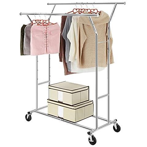 LANGRIA Kleiderständer Stabiler Garderobenständer 2 Kleiderstange mit