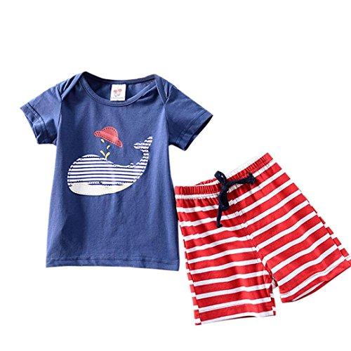 FeiliandaJJ Baby Boys Clothes Set, 2pcs Kids Toddler Summer Cute Cartoon Animals Printed Short Sleeve T-Shirt Tops Shorts Pants Outfits Set For 1 2 3 4 Years