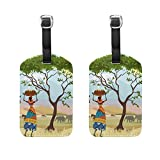 COOSUN African Women In Mountain Landscape Luggage Tags Travel Labels Tag Name Card Holder for Baggage Suitcase Bag Backpacks, 2 PCS
