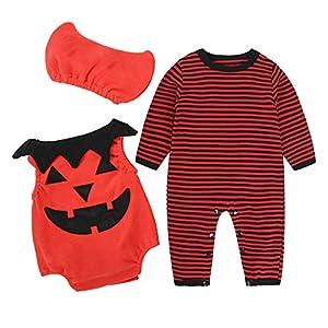 SERAPHY Trajes de Calabaza encantadores de Halloween Bebés Niños Niñas Sombrero + Romper + Chaleco para 0-24 Meses Ropa… 14