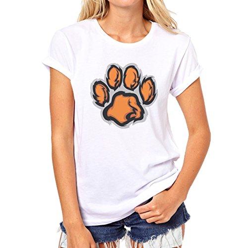 Tiger Big Cat Animal Paw Damen T-Shirt Weiß