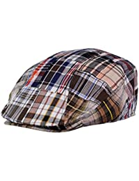 NYFASHION101 Casquette à bec de canard boutonné pour homme en coton de style patchwork écossais
