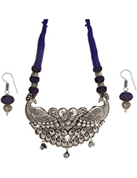 Tandra's Fashion Oxidised Or German Silver Royal Blue Peacock Necklace Set For Women And Girls