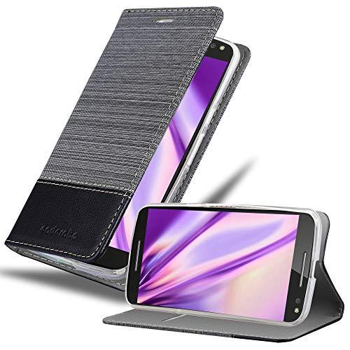Cadorabo Coque pour Motorola Moto X Style en Gris Noir - Housse Protection avec Fermoire Magnétique, Stand Horizontal et Fente Carte - Portefeuille Etui Poche Folio Case Cover