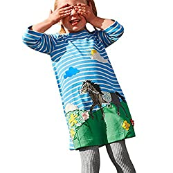 FeiliandaJJ Baby Girl Dress, Kids Striped Cute Animals Print Embroidery Party Princess Dresses For 1-6 Years
