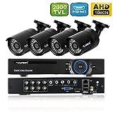 FLOUREON Kit CCTV Vidéosurveillance 8CH Enregistreur DVR 1080N AHD + 4 Caméras HD 2000TVL 1/3'' CMOS 1.3MP Etanches pour l'Extérieur Vision Nocturne Détection de Mouvement Alerte par Mail Système Cloud Sauvegarde par USB P2P