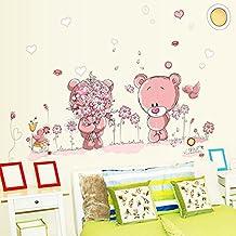 Wallpark Rosa Dibujos animados Lindo Pequeño Oso Pareja Flores Desmontable Pegatinas de Pared Etiqueta de la Pared, Bebé Niños Hogar Infantiles Dormitorio Vivero DIY Decorativas Adhesivo Arte Murales