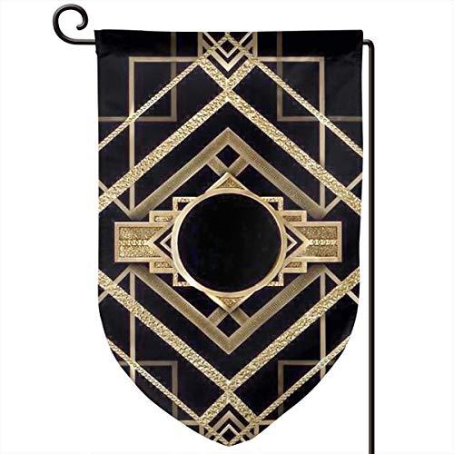 Lilyo-ltd Art Deco, Vintage, Era, The Great Gatsby, goldfarben, schwarz, Muster, elegant, schick, modern, trendig, Gartenhof Flagge, 31,8 x 45,7 cm, doppelseitig, Polyester