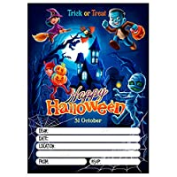 Halloween Spooky Party Invitation, Pack of 20 Invites, Skeleton Zombie Pumpkin Kids Children Boys Girls