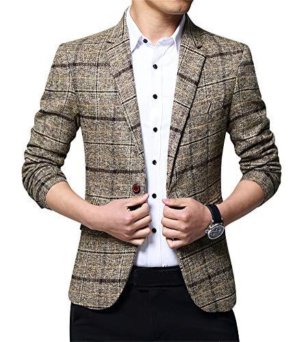 Zixing giacca blazer elegante uomo slim fit vintage formale da sera x-large xl