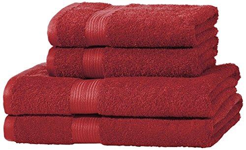 AmazonBasics - Juego de toallas (colores resistentes, 2 toallas de baño y 2 toallas de manos), color rojo