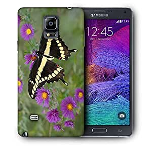 Snoogg Black Flying Butterfly Printed Protective Phone Back Case Cover For Samsung Galaxy NOTE 4 / NOTE IIII
