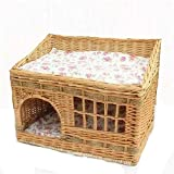 IW.HLMF Katzenstreu Rattan Teddy kleine Hundehütte Liubian Cat Lieferung Zimmer Pet Nest Supplies abnehmbare und waschbar