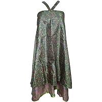 Mogul Interior Womens Wrap Skirt Printed Reversible Wrap Around Silk Sari Dresses L