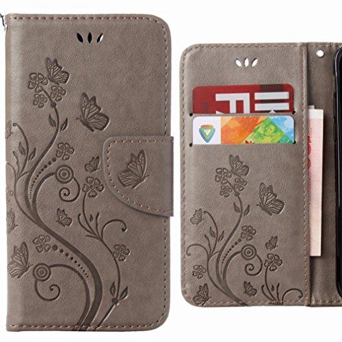 Handyhülle für Huawei Honor 5c Hülle Tasche, Ougger Flower Butterfly BriefHülle Tasche Schale Schutzhülle Leder Weich Magnetisch Stehen Silikon Cover mit Kartenslot (Grau)