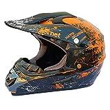 Wansheng Adult Dot Zugelassenen Motorradhelm Motocross Helm ATV Scooter Helm Mit Brille Off-Road Handschuhe und Maske,Orange,S