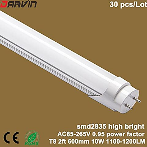 T8 Led Tube Light 2ft/600mm Split Tube Lamp Fluorescent Lights AC85-265V Input Cold White 6000-6500K With Milky Cover, Factory Directly Sales 30pcs/Lot