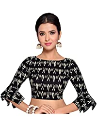 f6cc7f5be4d STUDIO SHRINGAAR WOMEN S BLACK IKAT PRINT PURE COTTON STITCHED SAREE BLOUSE  WITH FRILLED SLEEVES