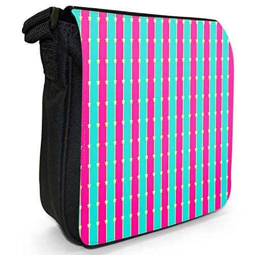 Lustige Muster Pink & Türkis Kleine Schultertasche aus schwarzem Canvas Vertikale Linien & gelbe Sterne