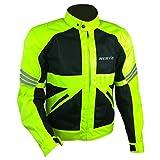 Nerve Shop Leichte DünneMesh Motorradjacke -Go-RollerMotorrad Jacke Herren Kurze Textil MännerProtektorenjacke Sommerjacke Luftdurchlässig - schwarz-neon-grün-gelb - 2XL / XXL