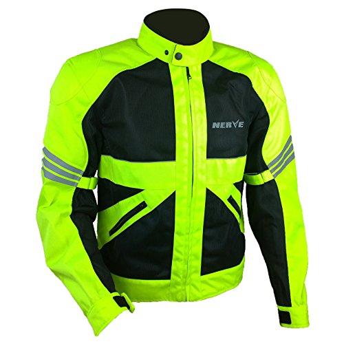 Leichte DünneMesh Motorradjacke -Go-RollerMotorrad Jacke Herren Kurze Textil MännerProtektorenjacke Sommerjacke Luftdurchlässig - schwarz-neon-grün-gelb - XL