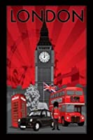 1art1 50500 Poster Londres Collage Big Ben Taxi Cabine Téléphonique Bus Garde Lion 91 x 61 cm