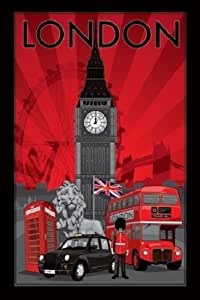 1art1 50500 Poster Londres Collage Big Ben Taxi Cabine Téléphonique Bus Garde Lion 91 x 61 cm