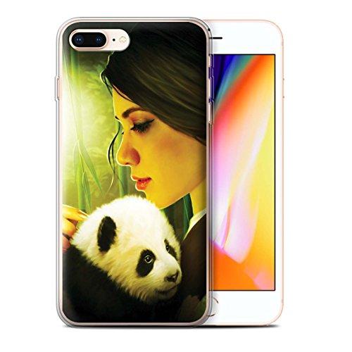 Officiel Elena Dudina Coque / Etui Gel TPU pour Apple iPhone 8 Plus / Oui Maman/Lion/Petit Design / Les Animaux Collection Petit Panda/Bambou