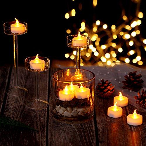 AGPtek Lot de 100 Bougie LED à Piles avec Flamme LED Vacillante Decoration pour Table Party Anniversaire Mariage (Ambre)