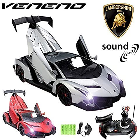 Comtechlogic® CM-2177 Official Licensed 1:14 Lamborghini Veneno® Radio Control RC Electric Rechargeable Car with 9 Sound Effects & Electric Opening Doors - Ready to Run EP RTR – SILVER