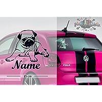 Mops #2   Tier   Wunschtext   Auto Aufkleber   Hund