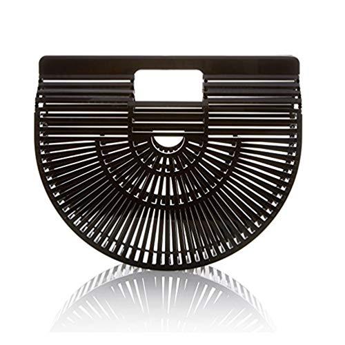 XGYUII Damen Strandtasche handgefertigt Bambus Handtasche Rattan weibliche Stroh Tasche Outdoor Clutch Bag Umhängetasche Umhängetasche Sommer Strand Geschenk,Black,28 * 20cm -