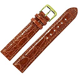 Crocodile Genuine Leather Watch Strap-Made in Germany-Bracelet made from genuine crocodile leather MARBURGER Bracelets Since 1945-Brown/Gold