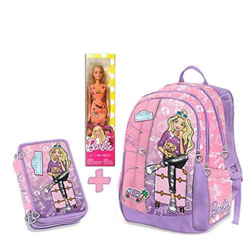 Schoolpack astuccio 3 zip completo di cancelleria + zaino estensibile 3 cerniere con gadget compatibile con barbie - collezione scuola 2019-20