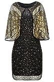Coucoland 1920s Kleid mit Stola Ärmel Damen Flapper Kleid Gatsby Cocktail Party Damen 20er Jahre Kostüm Kleid (Schwarz Gold, M)