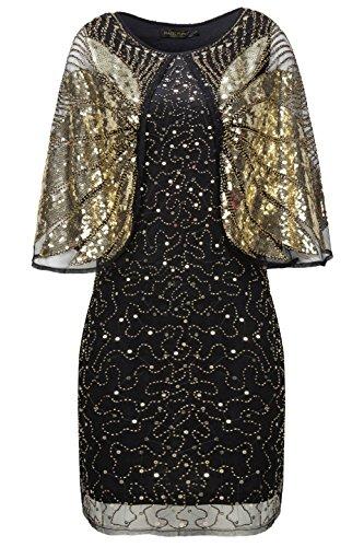 Coucoland 1920s Kleid mit Stola Ärmel Damen Flapper -