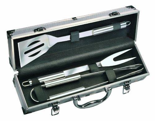 Preisvergleich Produktbild MATO Edelstahl Barbecue Set im Aluminium Koffer Grill Besteck Wender Gabel Zange