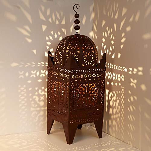 Farol oriental de hierro marroquí, farol de jardín hecho a mano, farol de mesa, artesanía de Marrakech para juegos de luz, como de 1001 noches, Firyal H-180