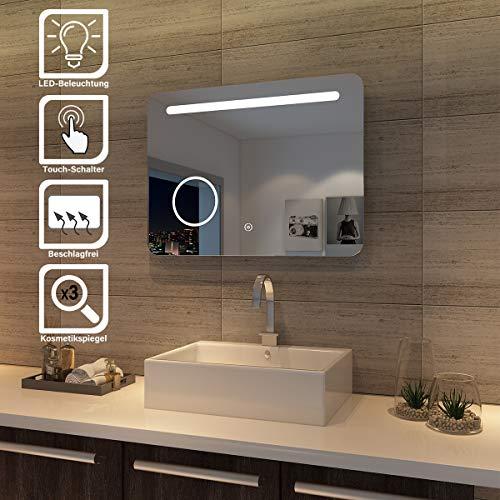 SONNI LED Bad Spiegel 80 x 60cm wandspiegel Badezimmer Lichtspiegel Badspiegel mit Beleuchtung mit Kosmetikspiegel, Touchschalter