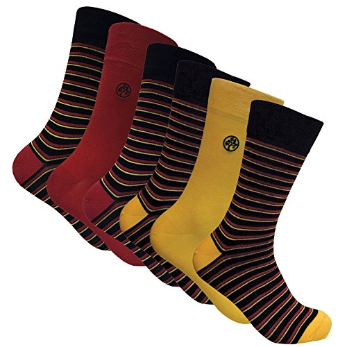 Sock Snob 6 Paia calzini bambu uomo divertenti colorati disegni 40-45 eur (Stripes Red/Yellow)
