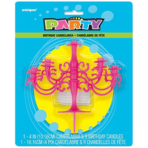 Unique Party Supplies Hot Pink Kandelaber Tortenaufsatz & Geburtstag Kerze Set