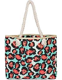 2ea09ce37e866 styleBREAKER Damen Strandtasche mit Leoparden Print und Reißverschluss
