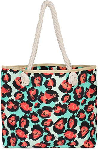 styleBREAKER Damen Strandtasche mit Leoparden Print und Reißverschluss, Schultertasche, Shopper 02012277, Farbe:Türkis-Rot - Tiger Print Handtasche