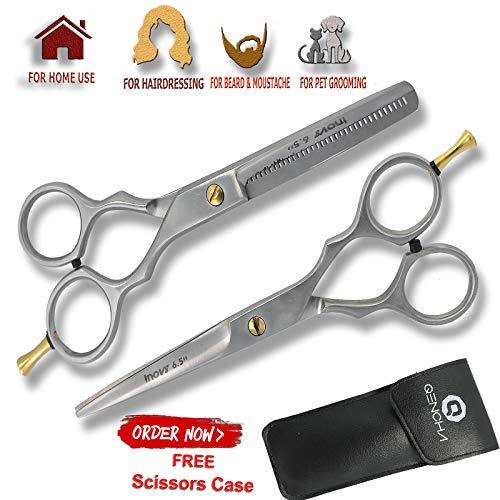 Juego de tijeras de peluquería profesional para peluquería, 16,5 cm, con reposacabezas ajustable, útil para uso profesional y personal